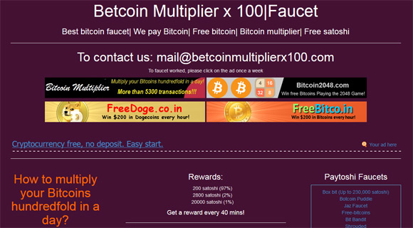 Earn Free Bitcoins from the Betcoin Multiplier x100 Faucet ...