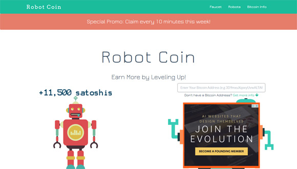 Earn Free Bitcoins from the Robot Coin Faucet - 1stCrypto.com